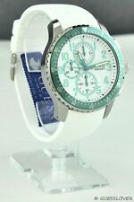 NWT GUESS Limited Unisex Men Watch GUESS White Rubber Green New Pristine
