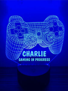 Personalised LED Multi Colour Gamer Night Light Sign Gaming In Progress Any Name