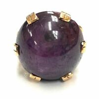 Vintage 14K Yellow Gold 52.33ctw Purple Star Ruby Cabochon Ring - Sz. 9.25