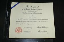WWII PRESIDENT ROOSEVELT FDR CERTIFICATE OF APPRECIATION SELECTIVE SERVICE SYS