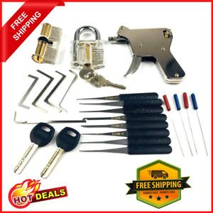 Locksmith Equipment Lock Gun Transparent Practice Locks Broken Key Extractor Set