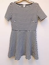 H&M BLACK WHITE STRIPE RIBBED NAUTICAL SAILOR SKATER DRESS DRESS M MEDIUM 12 8