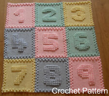 CROCHET PATTERN Baby Blanket - Number Motifs by Peach.Unicorn