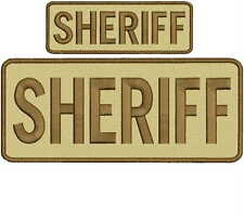 Sheriff embroidery Patch 4x10 and 2x5 hook  tan brown