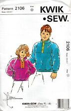 Kwik Sew Sewing Pattern 2106 Boys Girls Pull-over Fitting Jacket Size 4-7