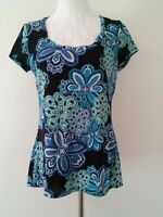 Villager Blue Multi Color Floral Prints Stretchy Top Size Medium Short Sleeve