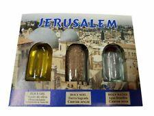 Set of 3 Jerusalem Prayer Gift Pack Anointing Oil, Jordan River Water, Holy Soil