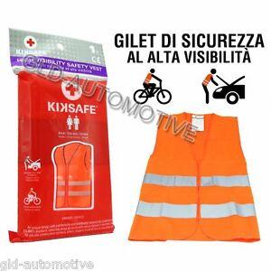GILET di Sicurezza ARANCIO Alta Visibilità Tg m-xxl Auto Bici Omologato KIKSAFE
