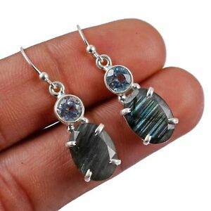"""Faceted-Labradorite,Blue Topaz Solid 925 Sterling Silver Earring Jewelry 1.4"""" AE"""