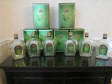Lot of 6 Empty 1 Liter Crown Royal Apple Whiskey Bottles With Caps and Boxes