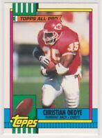 1990  Topps Tiffany CHRISTIAN OKOYE - Football Card # 253 - KANSAS CITY CHIEFS