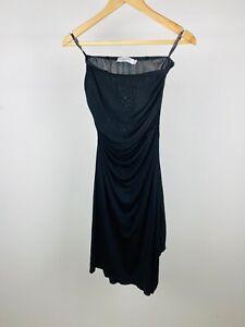 Christian Dior John Galliano 00's Y2K Black Silk Ruched Draped Tube Dress UK 10