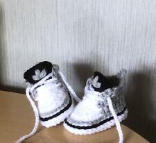 HANDMADE CROCHET BABY SHOES WOOL TRAINERS BOOTIES UNISEX