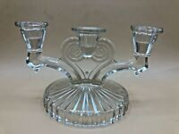 Vintage Candle Holder Candelabra Pressed Glass 3 Taper Candles