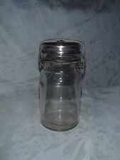 Clear Glass Canning Jar Glass Lid Wire Bale Vintage Collectible Jar