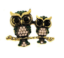 Vintage Owl Brooch Pin Diamante Crystal Rhinestone Broach Women Gold and Black