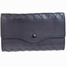 Auth BOTTEGA VENETA Intrecciato Four Hooks Key Case Leather Black Italy 05B1423