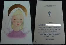 ESTAMPA HOLY CARD PRIMERA COMUNION VIRGEN ASUNCION VALDEPEÑAS AÑO 1963    CC1503