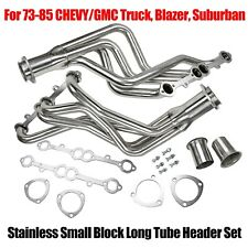 For Chevy Gmc Truck Silver Small Block Long Tube Header Set Coated Steel