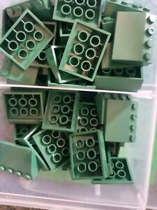 20 Woolworths Bricks Green Roof Slopes New Compatible With Lego & other brands
