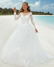 Cheap Ball Gown Wedding Dress Bridal Gown with Lace Long Sleeves Custom made
