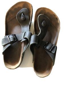 Birkenstock Medina Birko-Flor Black Leather Men's 40 Sandals L 9 M 7 Shoes