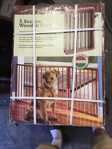 Pet Gate Folding Wood Dog Fence Barrier Standing New Safety Panel Indoor Walk