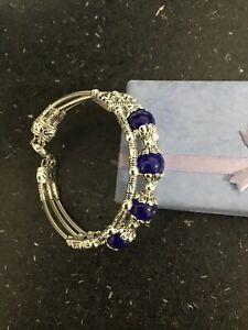 Blue And Silver Coloured Tibetan Design Fashion Bracelet
