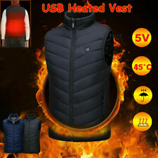 Men Women Heated Jacket Cloth USB Electric Vest Warm Up Heating Pad Body Warmer