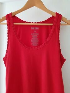 * OLD NAVY * Sz L-XL Red Lace Trim Maternity Ruched Side Long Singlet Tank Top