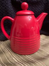 Chantal Teapot Red Glazed 2004 Designed in Usa Ribbed Design .75qt