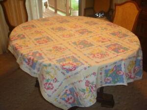 """Vintage Floral White  Linen Tablecloth 65"""" x 50"""""""