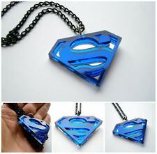 Superman Necklace – Blue Acrylic and Mirror plastic Superhero