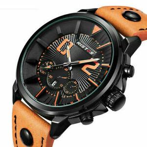 Mens Quartz Watches Waterproof Date Leather Watch Army Military Sport Wristwatch