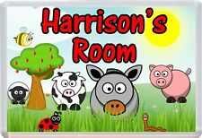 Personalised Any Name Farm Animal Theme Childs Bedroom Door Plaque Sign D12