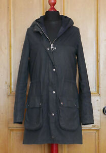 £219 Ladies Barbour Durham navy hooded long waxed waterproof rain jacket UK 10