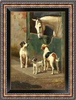 Old Master-Art Antique Oil Painting Animal horse and Hunting dog on canvas