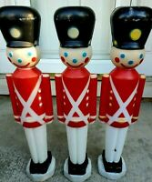 Three (3) Soldiers Plastic Blow Molds Empire Lighted Christmas Decorations 1980s