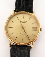 1984 NICE LONGINES SLIM LINE L9702 7J QUARTZ MENS DATE PRESENTATION WATCH. FIXER