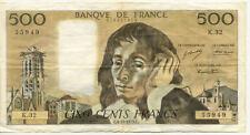 BILLET BANQUE 500 Frs PASCAL 04-10-1973 C K.32 TTB+