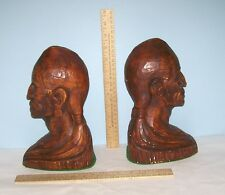 Pair of INDIAN HEAD BOOKENDS - marked © BLAKE - NATIVE AMERICAN - Chalkware or