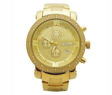 New Mens Jojo/Jojino/Joe Rodeo All Yellow  3 Chronos 25 Diamond Watch Mj1097