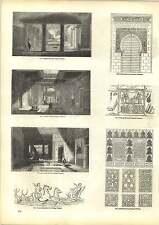 Old Engravings Ornaments Oriental Doorway Panel Ceiling Pompeii