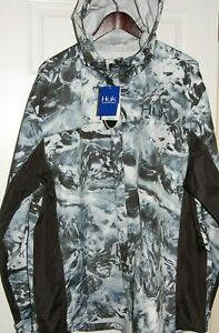 huk men's mossy oak camo packable rain jacket hydro black waterproof XXL