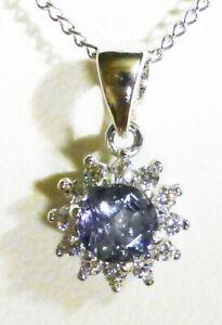 "5mm Montana Sapphire Lazy Denim Blue CLUSTER Pendant necklace Silver 18"""