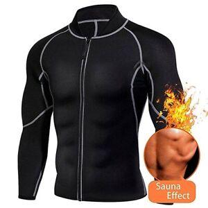Men's Neoprene Sauna Suit Vest Sweat Shirt Body Shaper Weight Loss Gym Training