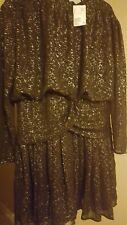 H &M  black party dress 14 midi Black With Gold Spots BNWT