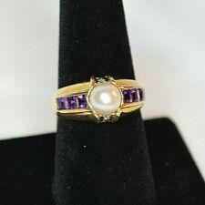 Pearl  Amethyst and Diamond Ring sz. 8 in 14K Yellow Gold