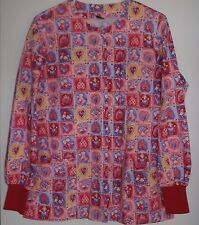 G.A.L.S. Scrub Coat Long Sleeve Multi-Reds Hearts/Angels 2 Pocket Snap Front/M