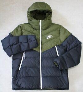 Nike Men's Down Filled Hooded Windrunner Jacket, 928833-395, Olive/Canvas, L